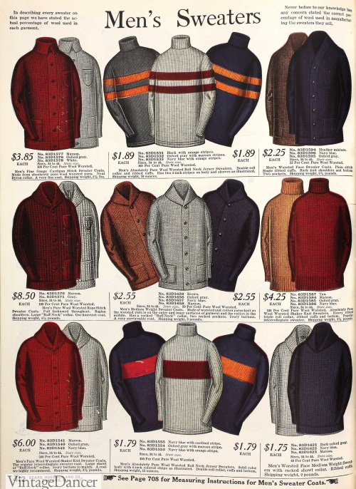 1915 mens sweaters, jerseys and cardigans