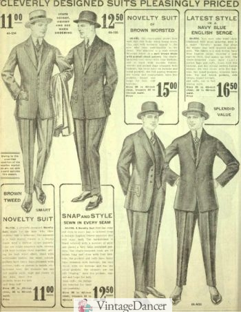 1916 Mens Jazz Suits - Edwardian era to 1923