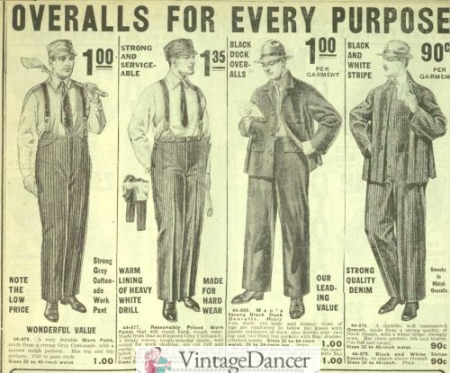 Edwardian 1916 men's work class outfits