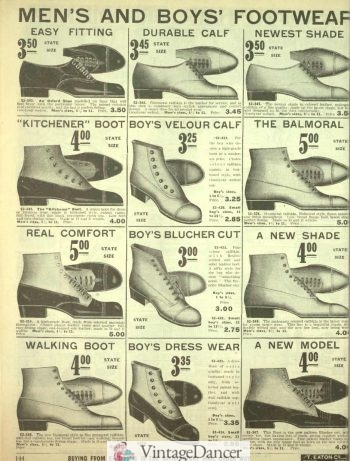 1916 mens boots, many pst top button boots
