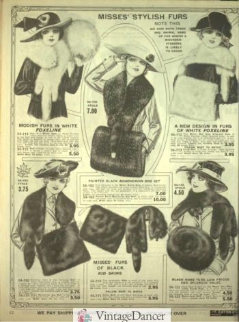 1918 fur stoles, shawls and muffs