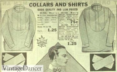 1918 mens bosom front shirts and detachable collars