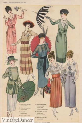 July 1918 new fashions in summer dresses