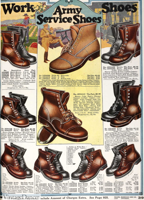 1918 men's work and army boots