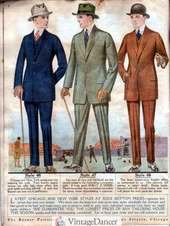 1918 new, colorful suits for young men