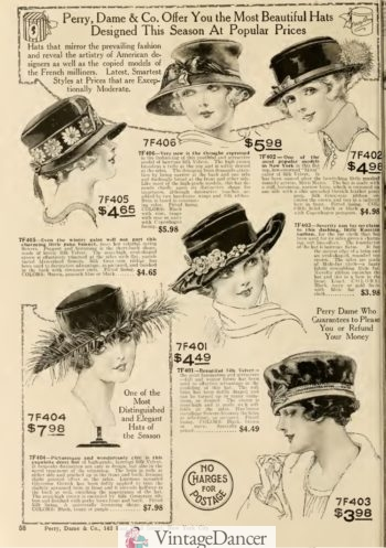 Wide brim hats were worn with suits and dresses while going out
