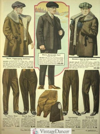 1920 men's Corderoy work jackets and trousers pants breeches