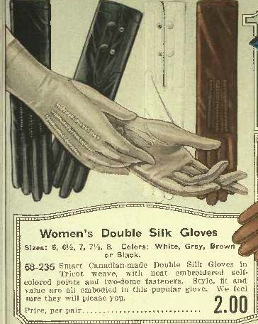1920 silk gloves- black, white, brown or grey