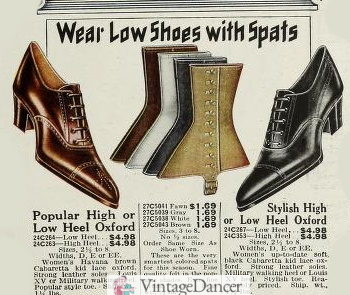 1920 Low shoes were often worn with spats or gaiters to protect stockings