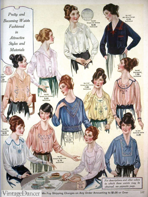 1920 pretty sheer blouses with embroidery. A slip on step in was worn underneath. Read more about 1920s blouses at VintageDancer