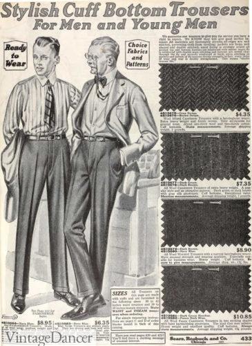 1920 men's slender leg trousers at VintageDancer