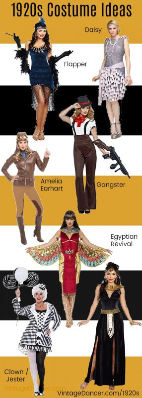 20s costumes, Halloween 1920s costume ideas. Flapper, great Gatsby, gangster, Amelia Earhart, Egyptian queen, Art Deco diva, peridot clown. All at VintageDancer.com