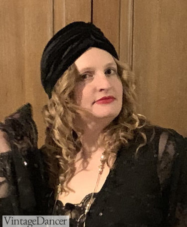 My own long curls styled for the early '20s