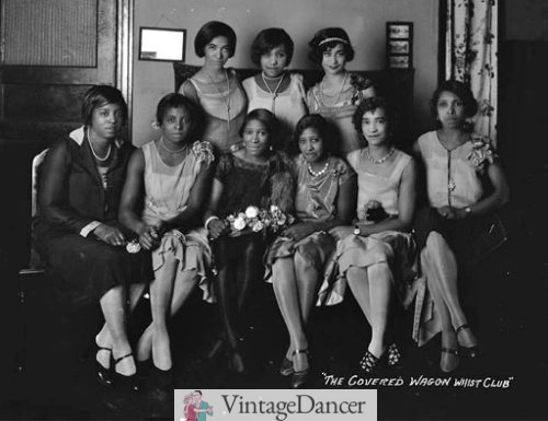 1920ss stockings for black women: The ladies from the Covered Wagon Whist Club wore a variety of stocking colors.