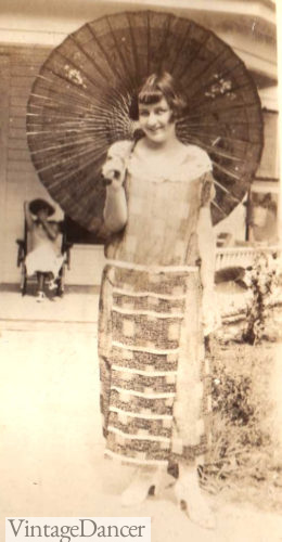 1924 young lady with a parasol and her new dress