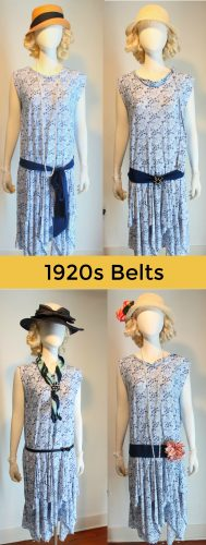 1920s outfits dress you can make. 1920s belts or sashes placed at the drop waist creates an instant 1920s look on almost any dress. Tie a sash with a bow, embellished with a large pin or flower, or choose a thin buckle belt. All are accurate historical dress details. Click to learn more 1920s costume tips at VintageDancer.com
