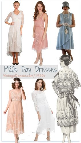 1920s Day dresses, tea dresses, lace dresses, white party dresses at VintageDancer.com/1920s