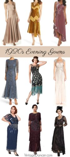 Long, formal, evening gowns inspired by the 1920s