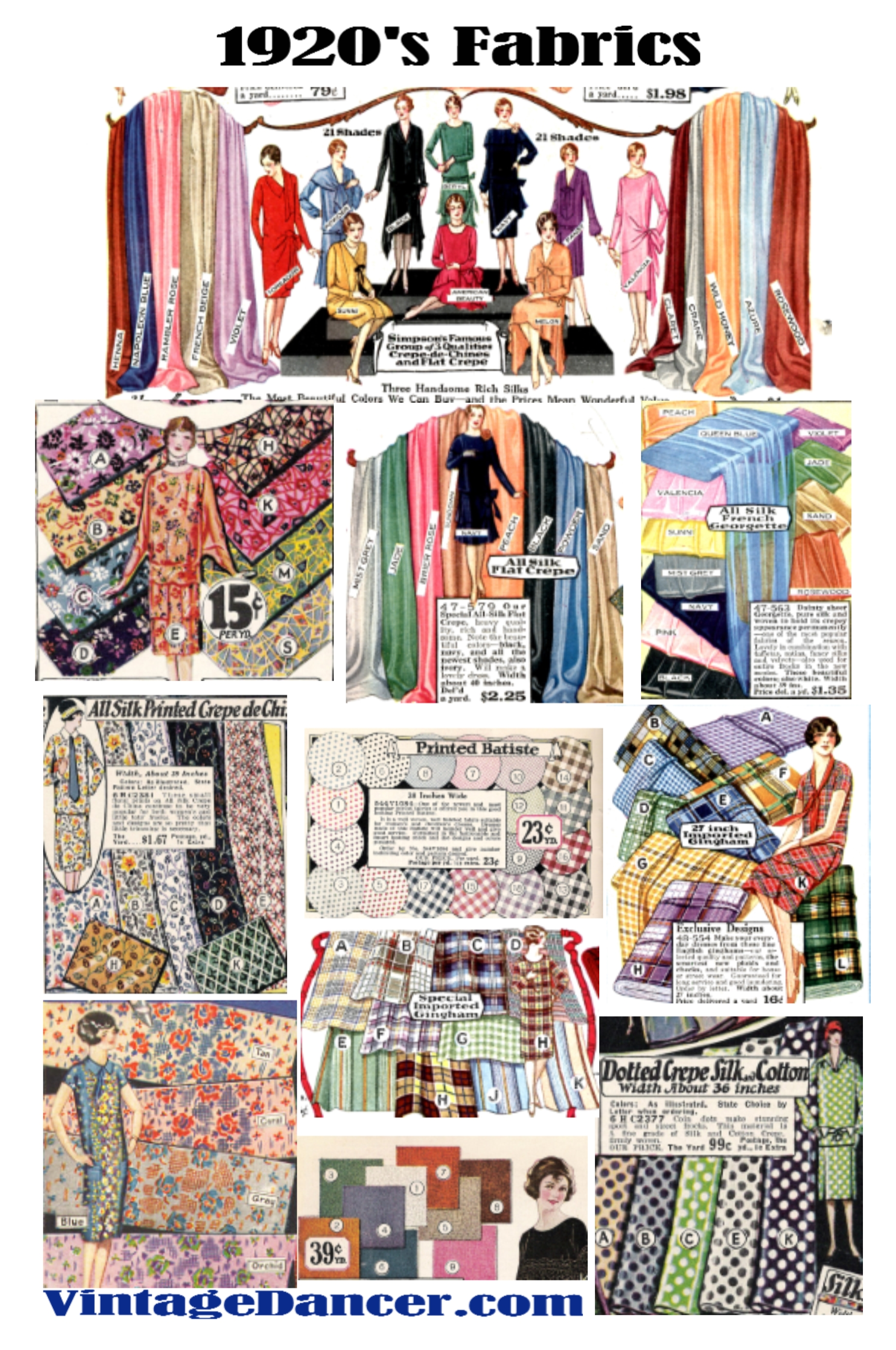 1920s fabrics for fashion. Silk, satin, rayon, cotton, velvet, wool in bright or pastel solid colors and fun prints.