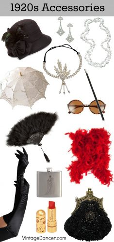 1920s accessories: hat, headband, pearl necklace, drop earrings, sunglasses, cigarette holder, feather fan, parasol, feather boa, flask, purse, gloves, and makeup. Shop and learn at VintageDancer