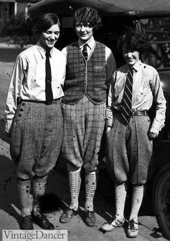 1920s Girls wearing men's shirts and ties at VintageDancer