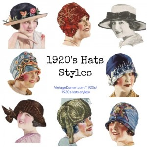 Women's 1920s hats styles, Art Deco hats at VintageDancer