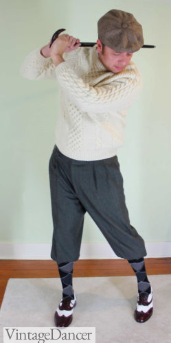mens 1920s sport golf outfit with cable knit sweater