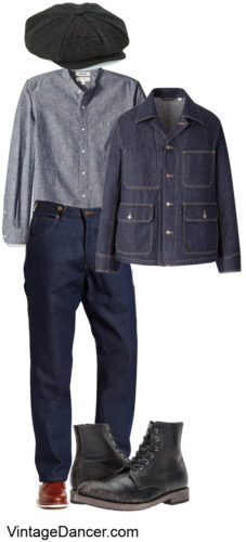 1920s mens casual and workwear outfit. Men's vintage denim casual workwear outfit ideas at VintageDancer