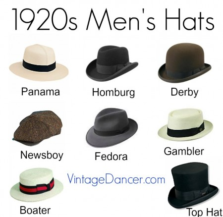 1920s men's hats at vintagedancer.com