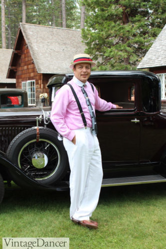 1920s mens summer outfit- White pants, two tone brown shoes, pink shirt with white collar, suspenders, Art Deco tie, and straw boater hat