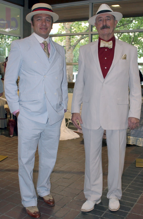 Seersucker suit on the left, ivory linen suit on the right. Both are perfect for hot summer events.