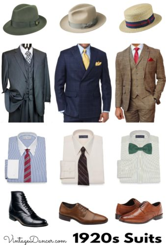 1920s mens suit, hat, shirt, tie and shoe outfits at VintageDancer. Shop suits here.