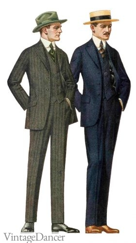 1920 men suits - slender but loose shaped suits- a classic fit