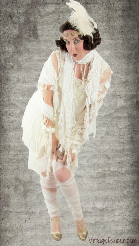 1920s Halloween costume with a twist. Flapper mummy! Get this and other 1920s costume ideas at VintageDancer.com