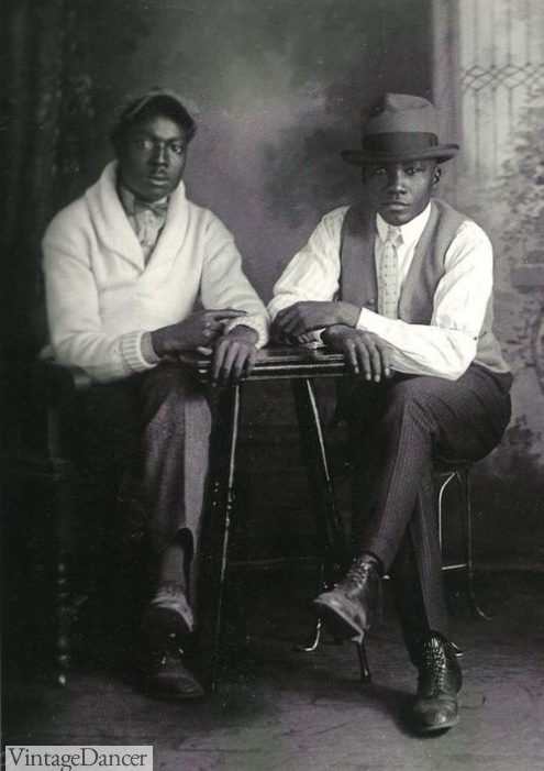 1920s mens casual fashion Sweaters, vests, trousers and hats