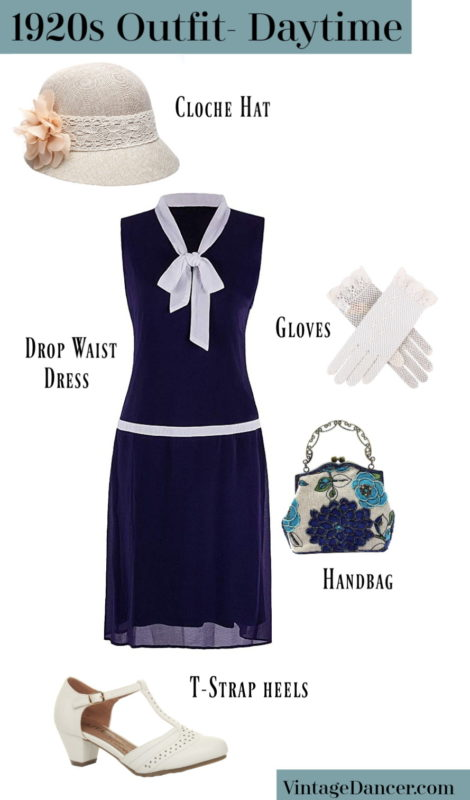 1920s daytime outfit- Drop waist dress, cloche hat, T-strap shoes, beaded handbag, and mesh gloves at VintageDancer
