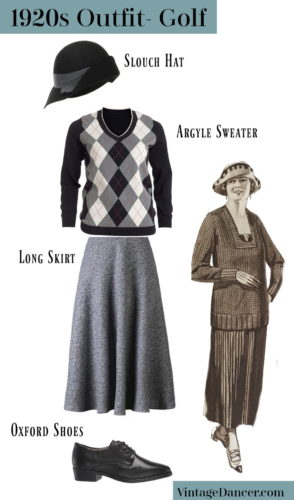 1920s casual / golf outfit costume idea with argyle sweater skirt and hat at VintageDancer