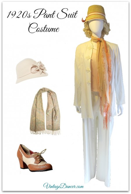 1920s Pant Suit Costume with Scarf. See more costume ideas at VintageDancer.com
