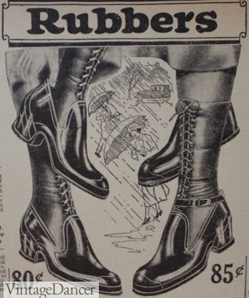 1920s rubber slip on shoes worn over gaiters