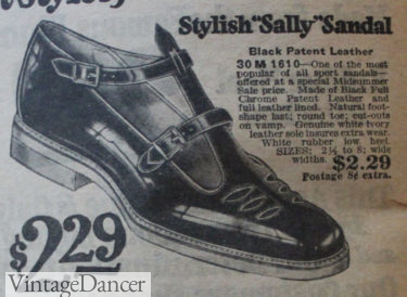 1920 Sally or T-strap low heel sandals at VintageDancer
