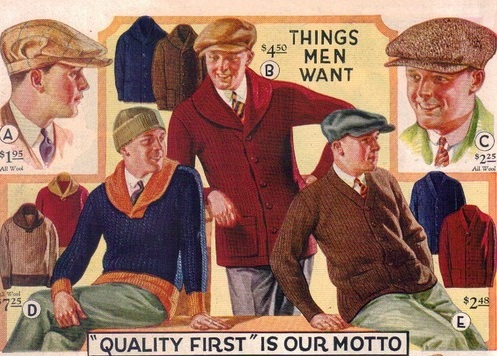 1920s mens sweaters and caps