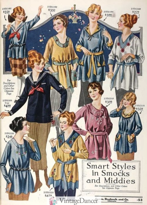1920 smock tops and middy shirts at VintageDancer