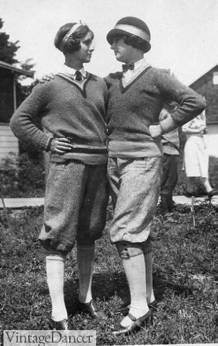 1920s sporty attire with knickers, sweater, shirt and tie. Helen Richey, the first commercial female airline pilot in the USA, is pictured above.