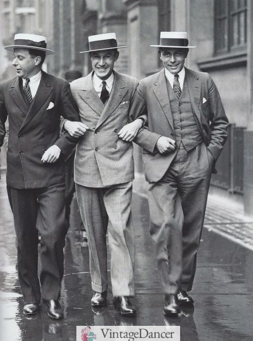 1920s Dapper men in suits and boater hats