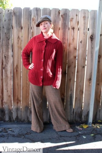 Easy 1920s costume: Button down large collar sweater, wide leg pants and newsboy cap.