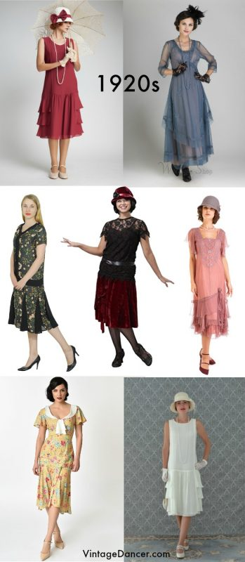Non-flapper 1920s tea dresses, day dresses, many with sleeves. Find them at vintagedancer.com
