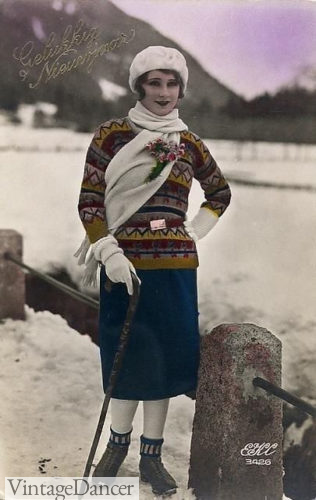 1920 hat, scarf, fair isle sweater, wool skirt, stockings and boots