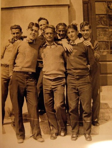 Early 30s college men in sweater and flat front trousers