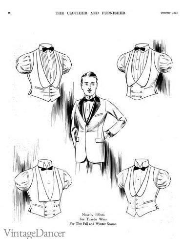 1922 mens white tie waistcoats vest tuxedo