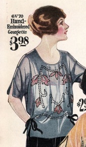 1922 art deco blouse displaying side ties and early 20s fashion style at VintageDancer